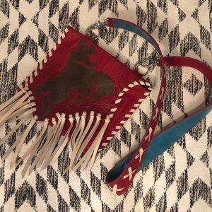 NWOT Buckaroo Tooled Leather Fringe Purse